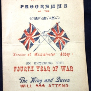 Westminster Abbey Souvenir program, August 5, 1917