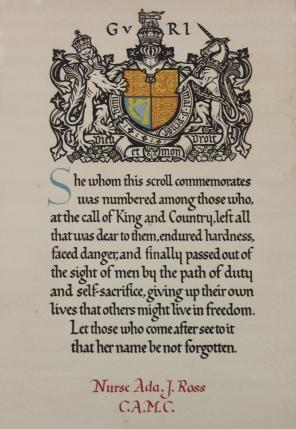 Framed memorial scroll from King George V for Nurse Ada J. Ross, C.A.M.C.