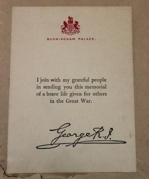 [Verso of framed memorial scroll from King George V for Nurse Ada J. Ross, C.A.M.C.]