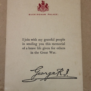 [Verso of framed memorial scroll from King George V for Nurse Ada J. Ross, C.A.M.C.]