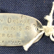 Ruby Dickie's Queen Alexandra's Imperial Nursing Service Reserve metal identification tag.