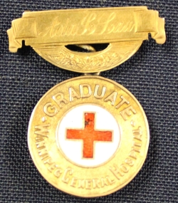 Winnipeg General Hospital School of Nursing graduation pin belonging to Ada Law, 1903.