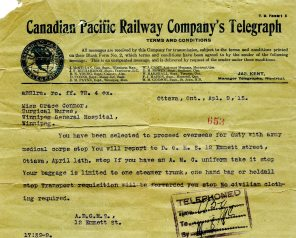 [Telegraph sent to Grace Conner about being accepted into the Canadian Army Medical Corps, April 9, 1915.]