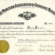 Ruby Dickie's Registration Certificate for The Manitoba Association of Graduate Nurses, 1921