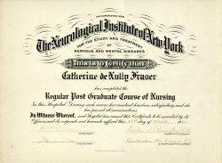 Neurological Institute of New York Certificate, 1920