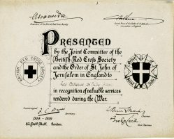 British Red Cross Society Certificate of Recognition - Catherine DeNully Fraser