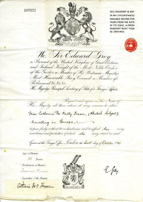 Catherine DeNully Fraser Passport, 1914