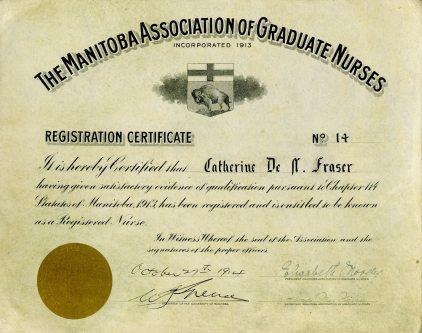Manitoba Association of Graduate Nurses Registration Certificate, 1914