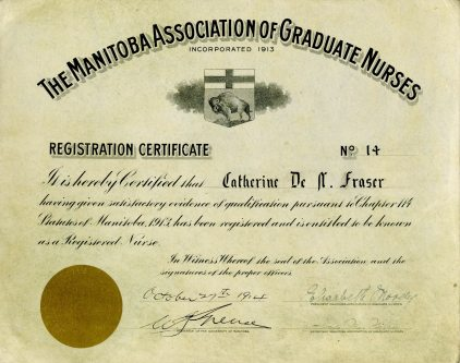 Manitoba Association of Graduate Nurses Registration Certificate, 1914