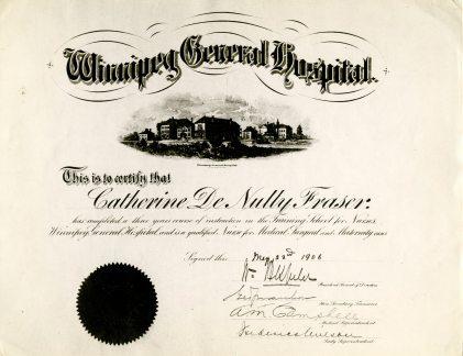 Catherine DeNully Fraser's Winnipeg General Hospital School of Nursing Certificate, 1906