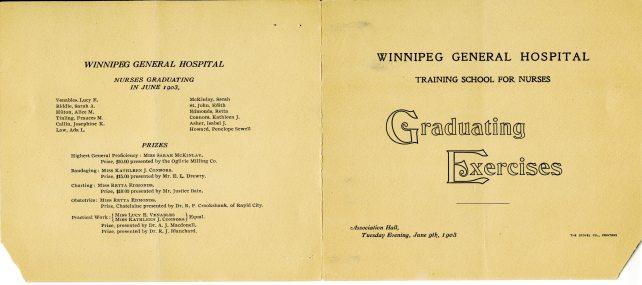 Winnipeg General Hospital Training School for Nurses Graduation Program, 1903