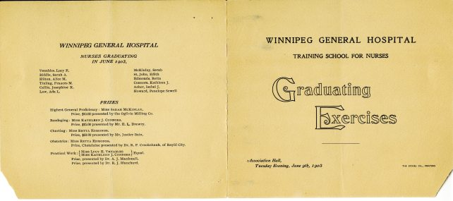Winnipeg General Hospital Training School for Nurses Graduation Program, 1903