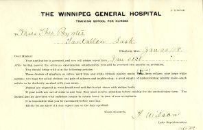 [Winnipeg General Hospital Training School for Nurses acceptance information sent to Theodora Paynter. Jan. 20, 1908]