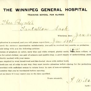 [Winnipeg General Hospital Training School for Nurses acceptance information sent to Theodora Paynter. Jan. 20, 1908]