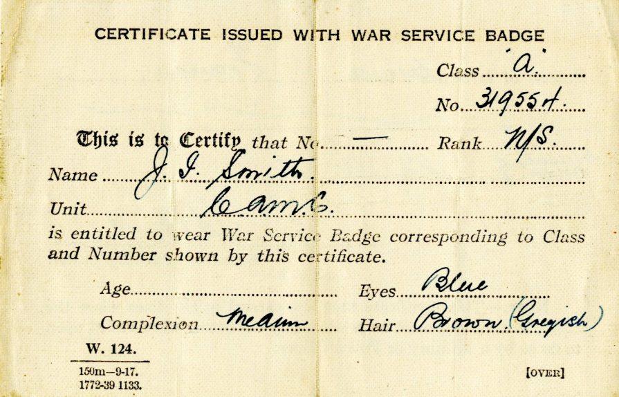 [Jessie Isobel Smith War Service Badge Certificate.]