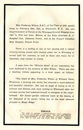 Obituary for Frederica Wilson that appeared in Winnipeg General Hospital Nurses' Alumnae Journal, 1935.