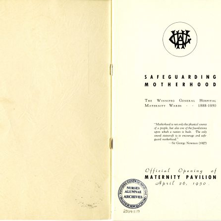Safeguarding Motherhood Official Opening of Maternity Pavilion Booklet 1950 Inside Cover