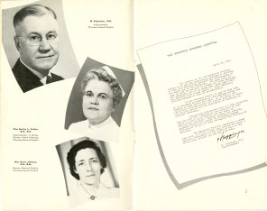 Safeguarding Motherhood Official Opening of Maternity Pavilion Booklet, 1950, pg. 6-7. HSC Archives/Museum 2009.11.17