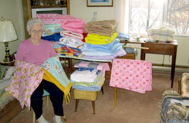 Blankets donated to the Peter Pan Club, ca. 2007. HSC Archives/Museum 2012.78.16 Peter Pan Box 4 F8, S15