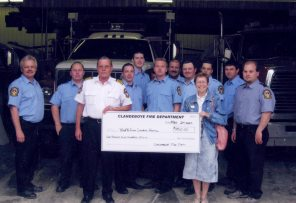 Clandeboye Fire Department donates $1950 to the Peter Pan Club in 2007. HSC Archives/Museum 2012.78.16 Peter Pan Box 4 F8, S15