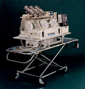 Newly developed ground transport incubator system, 1998. HSC Archives/Museum 2016_128_004