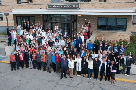 Family photo for those born at or who had children born at the Women's Hospital, 6 May 2010. HSC Communications