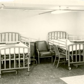 Semi-private patient room in Maternity Pavilion, circa 1950. HSC Archives/Museum 999.4.20 F4_P2_023 2