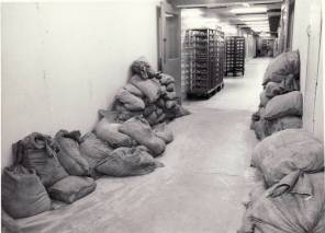 Sandbags in tunnels during the 1950s flood, 1950. HSC Archives/Museum