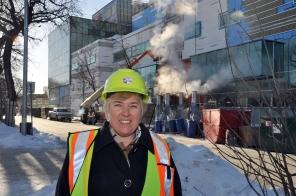 Construction of new HSC Women's Hospital, Doris Sawatzky-Dickson, 2017. HSC Communications