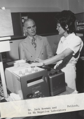 Dr. Jack Bowman and Ms. Pollock in Rh Negative Laboratory, 1960s. HSC Archives/Museum