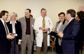 Opening Ceremony at Women's Hospital 1999-2004, third from left Dr. Gary Krepart, 2nd from left Helga Bryant. HSC Archives/Museum F3_P3_023