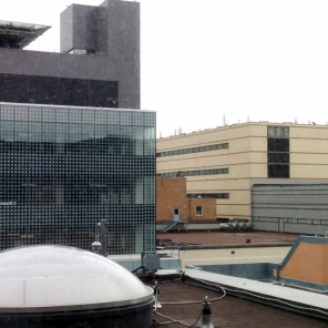 Construction of new HSC Women's Hospital, exterior, 2018, view. HSC Communications