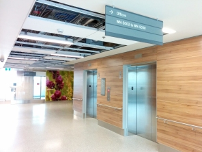 Construction of new HSC Women's Hospital, Interior, 2018, elevators. HSC Communication