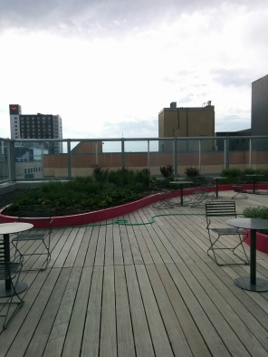 Construction of new Women's Hospital, Exterior, 2018, patio. HSC Communication