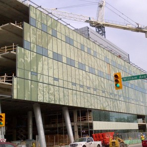 Construction of new HSC Women's Hospital, 2014, exterior. HSC Communications