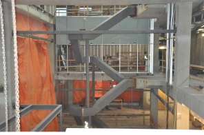Construction of new HSC Women's Hospital, 2014, interior main staircase. HSC Communications