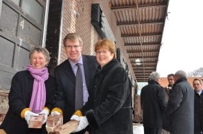 Announcement of new HSC Women's Hospital, 24 March 2010. Bricks gathered from Brock Bakery building to be recycled and used in the new facility. HSC Communications