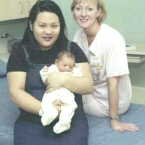 First mom and baby in new unit (WRS 2) Judy Claudio and baby Gregory, with Lori Wahoski, 2000. HSC Archives/Museum Negative Collection