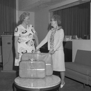 Evelyn Turner (right) at her retirement, 1975. HSC Archives/Museum Negative Collection Bio file