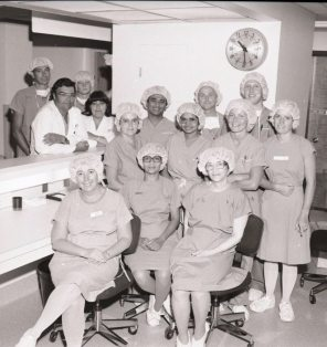 Obstetrics and Gynecology staff in the new OR, 1983. HSC Archives/Museum Negative Collection