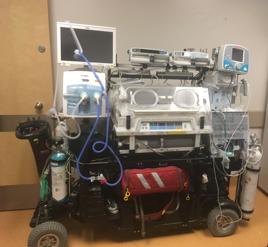 The neonatal transport incubator has gone through a series of upgrades since it was developed in 1998. Here is a picture from January 2019. HSC Archives/Museum