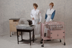 Setup for baby delivery and transportation, ca. 1950s. HSC Archives/Museum